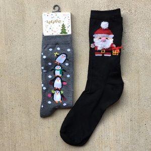 Legale Christmas Socks Santa Clause Penguins 9-11
